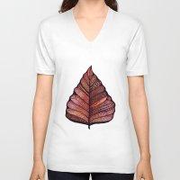 decal V-neck T-shirts featuring Modern leaf art | green leaves wall decal | botanical leaf decor | botanical leaves | leaf & plant by WestridgeART