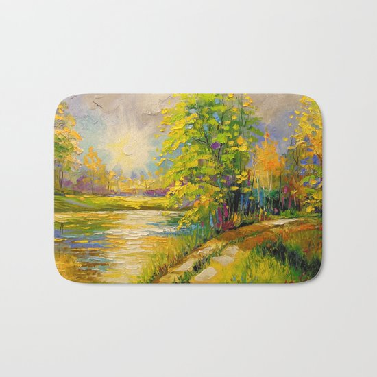 At sunset by the river Bath Mat