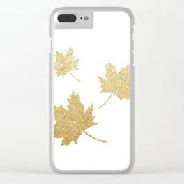 Falling Leaves | Gold Glitter Clear iPhone Case