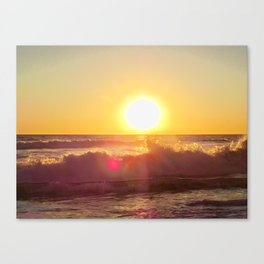 Golden Glow and Crashing Waves Canvas Print
