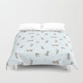 Polka Dot Cats in Blue Duvet Cover