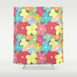 Colorful Flowers Pattern Shower Curtain