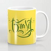 brasil Mugs featuring BRASIL by Roberlan Borges