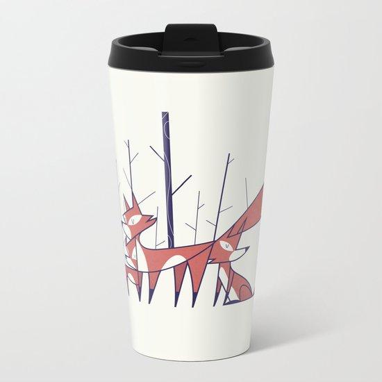 Foxes Metal Travel Mug
