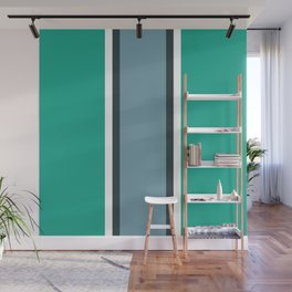 Green and blue striped art Wall Mural