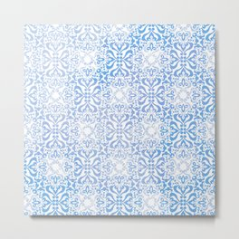 Blue Winter Damask Metal Print