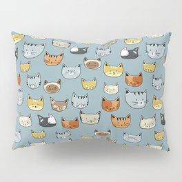 Cat Face Doodle Pattern Pillow Sham