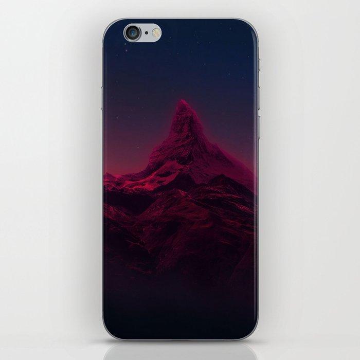 Pink mountains at night iPhone Skin