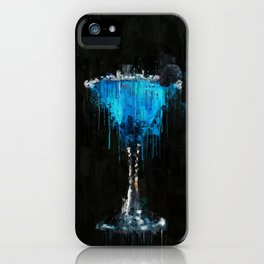 Painted blue raspberry martini cocktail iPhone Case