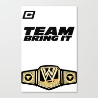 wwe Canvas Prints featuring Team Bring It The Rock WWE by ems23