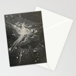 From the Earth to the Moon Black & White Space Explosion Ink Art 1874 Stationery Cards