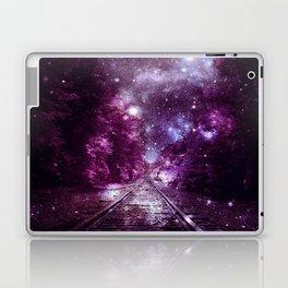 Dream Train Tracks : Next Stop Anywhere purple pink Laptop & iPad Skin