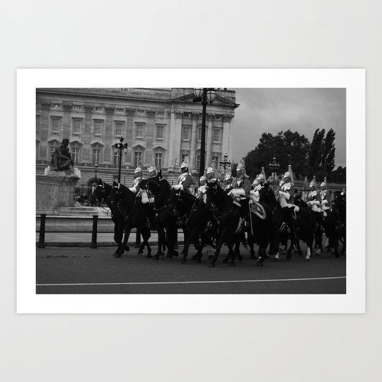 The Guards and Buckingham Palace b&w Art Print