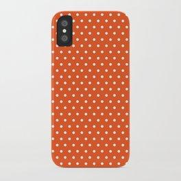 Modern orange white autumn polka dots iPhone Case