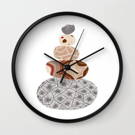 Colored Stack of Great Lakes Rocks Wall Clock