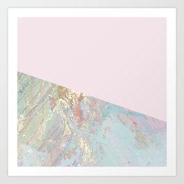 Blush pastel marble glamour Art Print