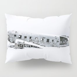 Plane Wreck in Iceland in Winter - Landscape Photography Minimalism Pillow Sham