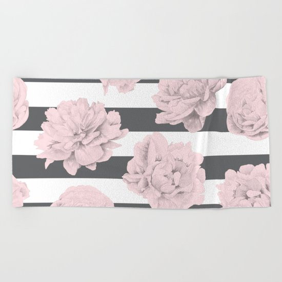 Rose Garden Stripes Pink Flamingo on Storm Gray and White Beach Towel
