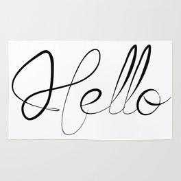 Black and White Hello Typography Rug