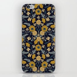 Navy Blue, Turquoise, Cream & Mustard Yellow Dark Floral Pattern iPhone Skin