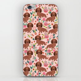 Long Haired Dachshund red coat pet friendly must have gifts for home dog lover iPhone Skin