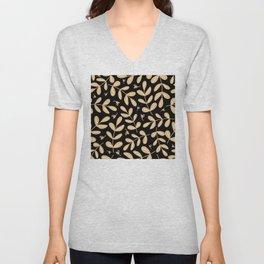 Contemporary Leaves Graphic Art Design Pattern On Black Unisex V-Neck