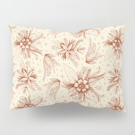 red sketchy floral pattern Pillow Sham