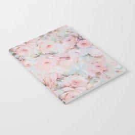 Vintage romantic blush pink teal bohemian roses floral Notebook