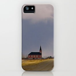 Distant Red Church on a Stormy Day iPhone Case