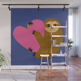Sloth in love blue Wall Mural