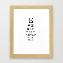 Eye Chart for Stalkers Framed Art Print