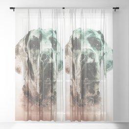 Great Dane Digital Watercolor Painting Sheer Curtain
