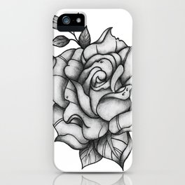 Black and Grey Rose iPhone Case