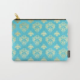Mermaid Gold and Aqua Blue Seafoam Damask Carry-All Pouch