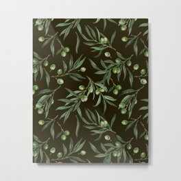 Olive branches watercolor on black Metal Print