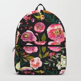 black and pink floral Backpack