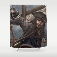 jack sparrow Shower Curtains featuring Captain Jack Sparrow by Art of Nym