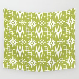 Mid Century Modern Atomic Space Age Pattern Chartreuse Wall Tapestry