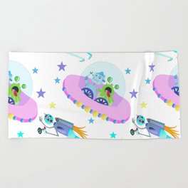 Outerspace Traffic Jam Beach Towel