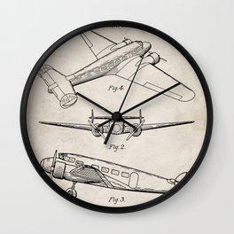 Lockheed Airplane Patent - Electra Aeroplane Art - Antique Wall Clock