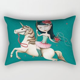 Circus girl on horse with cage and heart Rectangular Pillow