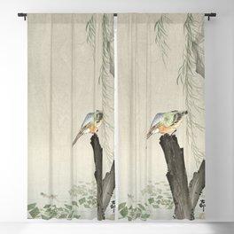 Kingfisher on a tree stump (1900-1936) by Ohara Koson (1877-1945) Blackout Curtain
