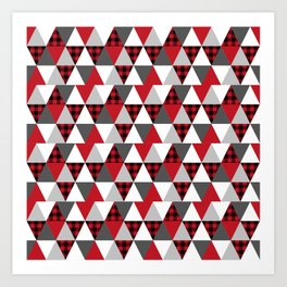 Quilt pattern buffalo check pattern red black and white with grey minimal camping Art Print