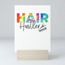 Retro Hair Hustler Tie Dye Hair Stylist Hairdresser Barber Mini Art Print