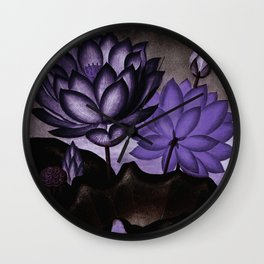 Deep Purple Sacred Egyptian Bean Temple of Flora Wall Clock