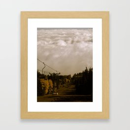 Ski Lift Into the Clouds Framed Art Print