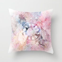 Whimsical white watercolor mandala design Throw Pillow