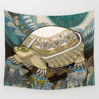 turtle Wall Tapestries featuring Turtle by Yuliya