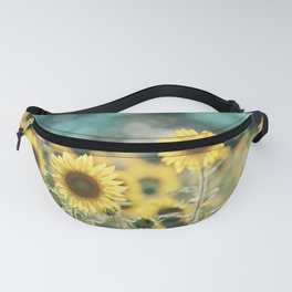 Sunflower Flower Photography, Yellow Teal Nature Turquoise Aqua Blue Green Fanny Pack