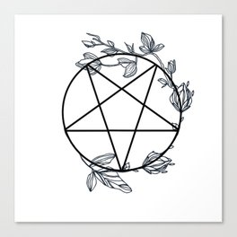 Witch's Pentagram with Flora Adornments Canvas Print